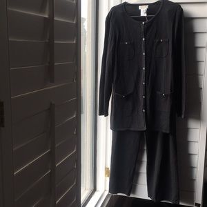 Black and metallic black Talbots pants suit